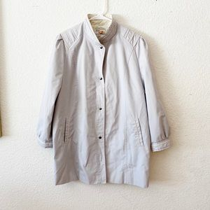 Vintage 70s Snap Up Coat Gray White Piping Jacket